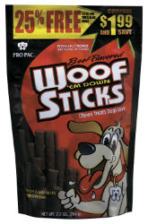 PRO PAC® Beef Flavored Woof 'em Down Sticks™