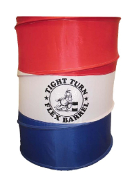 "These red, white, and blue practice barrels are just like the real thing. Each is one is 23 ½"" in diameter and 34"" tall. All of the barrels are imprinted with the ""Tight Turn"" logo. All three fit conveniently inside a zippered carry bag. Each barrel has a slightly weighted base and the top has a drawstring closure. Each set contains 3 barrels and a carry case."